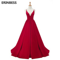 2018 Red Sexy Satin Evening Dresses Long A line Prom Dresses V neck Evening Party Dresses Prom Dress Open Back Robe De Soiree
