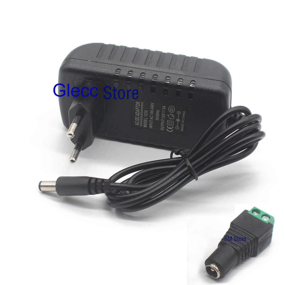 Ue plug ac 100-240 v para dc 12 v 1a 2a 3a 12 w 24 w 36 w cabo do adaptador da fonte de alimentação para a luz de tira conduzida/com conector