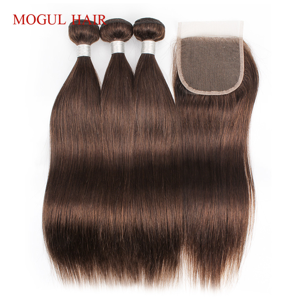 MOGUL HAIR Color 4 Chocolate Brown Straight Hair Bundles with Closure Peruvian Straight Remy Human Hair