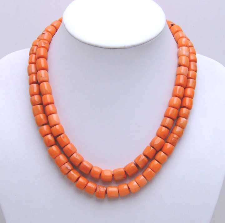GENUINE NATURAL 2 Strands Thick Slice Pink Coral Necklace with Big Red Coral Clasp-5207 wholesale/retail Free shipping natural red coral with silk knot design necklace