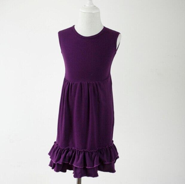 0a67b54104c91 Toplu toptan çocuk saf renk çarpıntı kolsuz prenses elbise Fotoğraf sahne  üst alt fırfır boyun fırfır