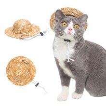 Забавная летняя кепка для питомца кота, соломенная шляпа в гавайском стиле для маленьких собак, щенков, реквизит для фотосессии, аксессуары для ухода, Прямая поставка