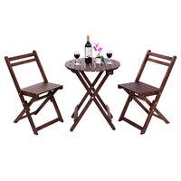 Giantex 3 Piece Garden Table Chair Set Wood Folding Outdoor Pool Patio Furniture Set Portable Modern