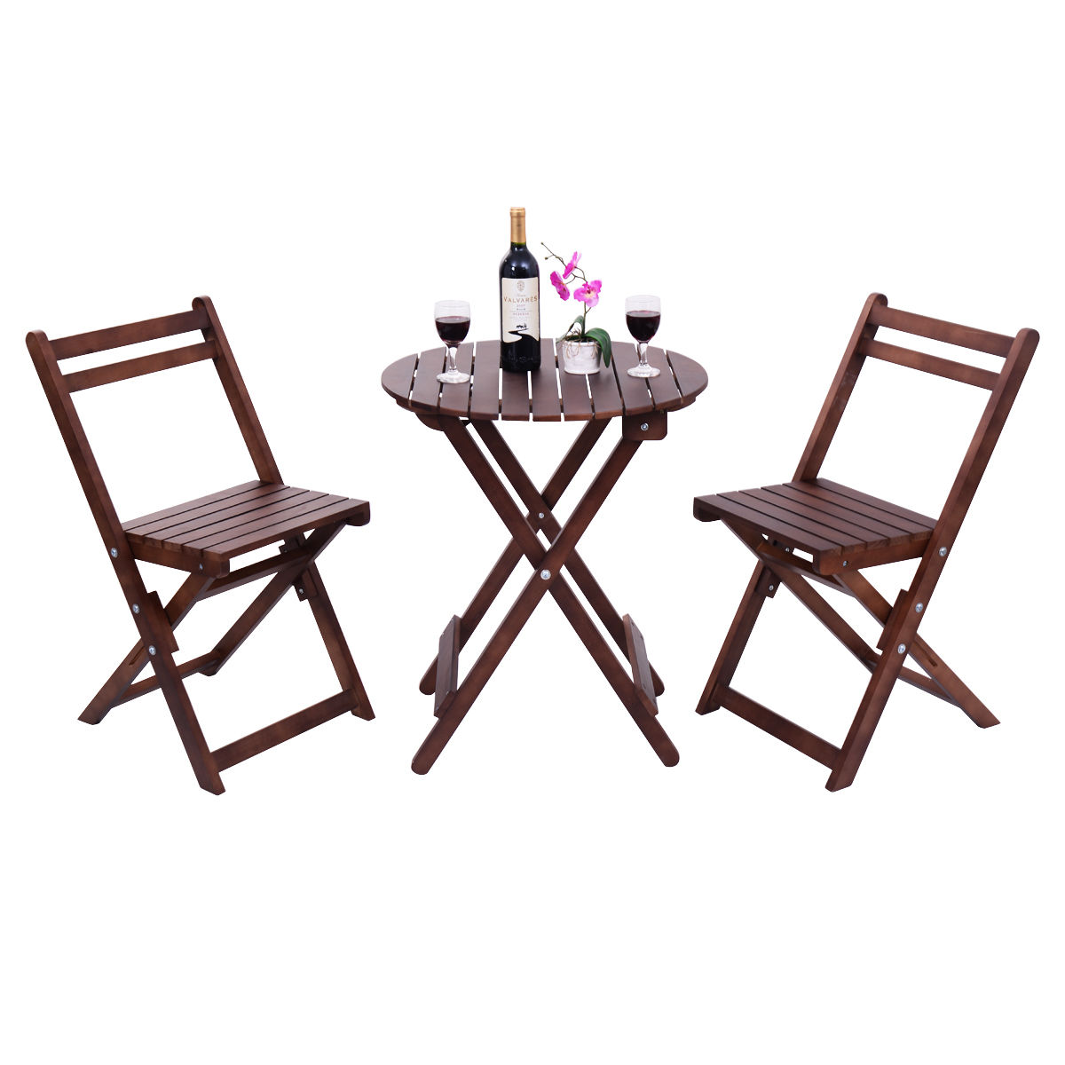 Giantex 3 Piece Garden Table Chair Set Wood Folding Outdoor Pool Patio Furniture Set Portable Modern Table Chairs Set OP3081