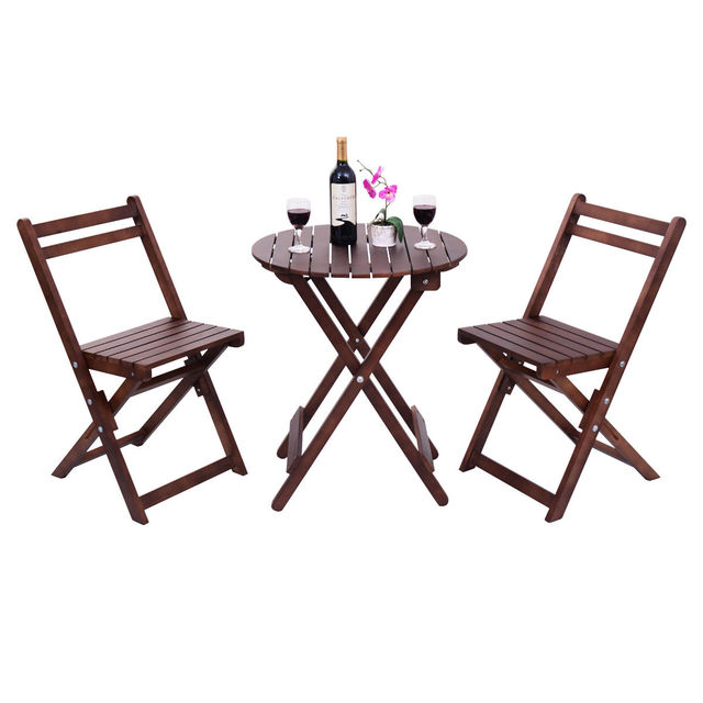 Giantex 3 Piece Garden Table Chair Set Wood Folding Outdoor Pool Patio Furniture Portable Modern