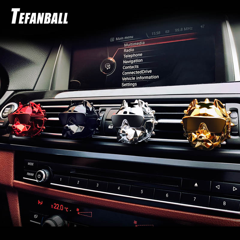 Car Interior Ornaments Cool Dog Head Modeling Aroma Air Outlet Perfume Clamp Clip Vehicle Mounted Aromatherapy Lasting Practical-in Air Freshener from Automobiles & Motorcycles