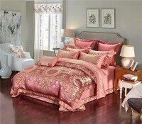 Фиолетовые красные серебряные роскошные шелковые хлопковые жаккардовые комплекты постельного белья King queen размер пододеяльник Восточная