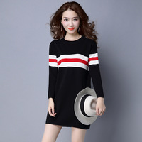 Knitting Dress Hit Color Stripe New Sweater In Long Section Wild Fashion Hedging Sweater Tide Grey