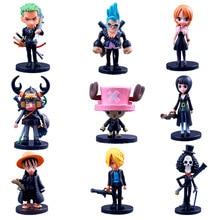 Фотография 9pcs/set Action Figure Anime One Piece Luffy Tony Roronoa Zoro PVC Q version Movie version Decoration Toy Model For Kid Gift F3