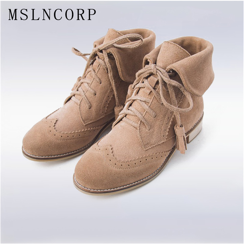 Plus Size 34-43 Genuine leather Women Ankle Boots Spring Autumn bullock Casual Shoes Fashion Female Tassel Lace Up Martin Boots europe america style spring autumn women genuine leather thin high heel lace up low cut fashion denim shoes size 34 41 sxq0709