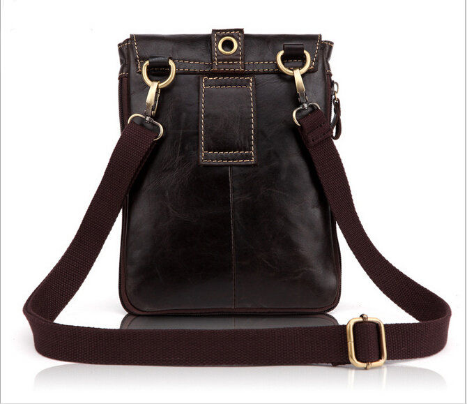 f474fa77e2fa Genuine Leather Small Shoulder Bag Men s Cross Body Satchel Brown Waist  Pack Hip Pocket Belt Pouch-in Waist Packs from Luggage   Bags on  Aliexpress.com ...