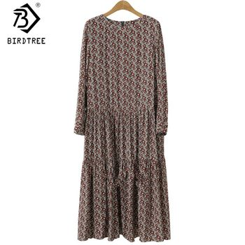 Plus Size 4XL O-Neck Women Print Flowers Shirt Dress Fall Fashion Vintage Long Sleeves Good Quality Female Dress D7N705A 1
