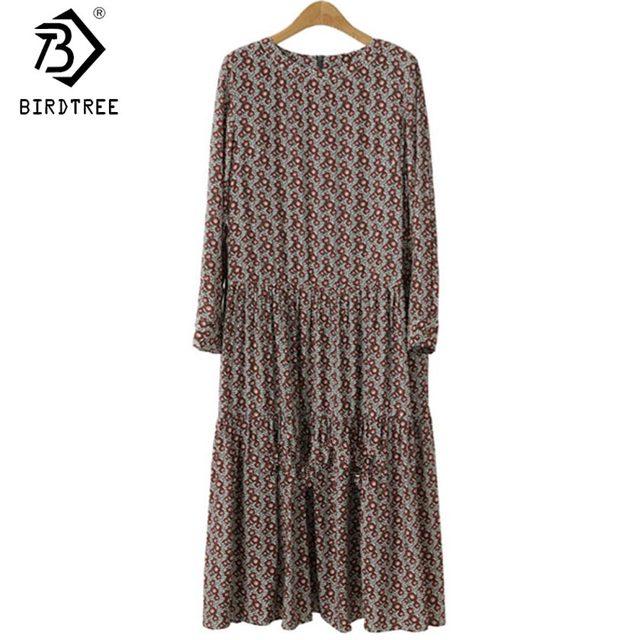 Plus Size 4XL O-Neck Women Print Flowers Shirt Dress Fall Fashion Vintage Long Sleeves Good Quality Female Dress D7N705A 1