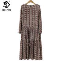 Платье-рубашка размера плюс 4XL с круглым вырезом и цветочным принтом, Осеннее модное винтажное платье с длинными рукавами, хорошее качество,...