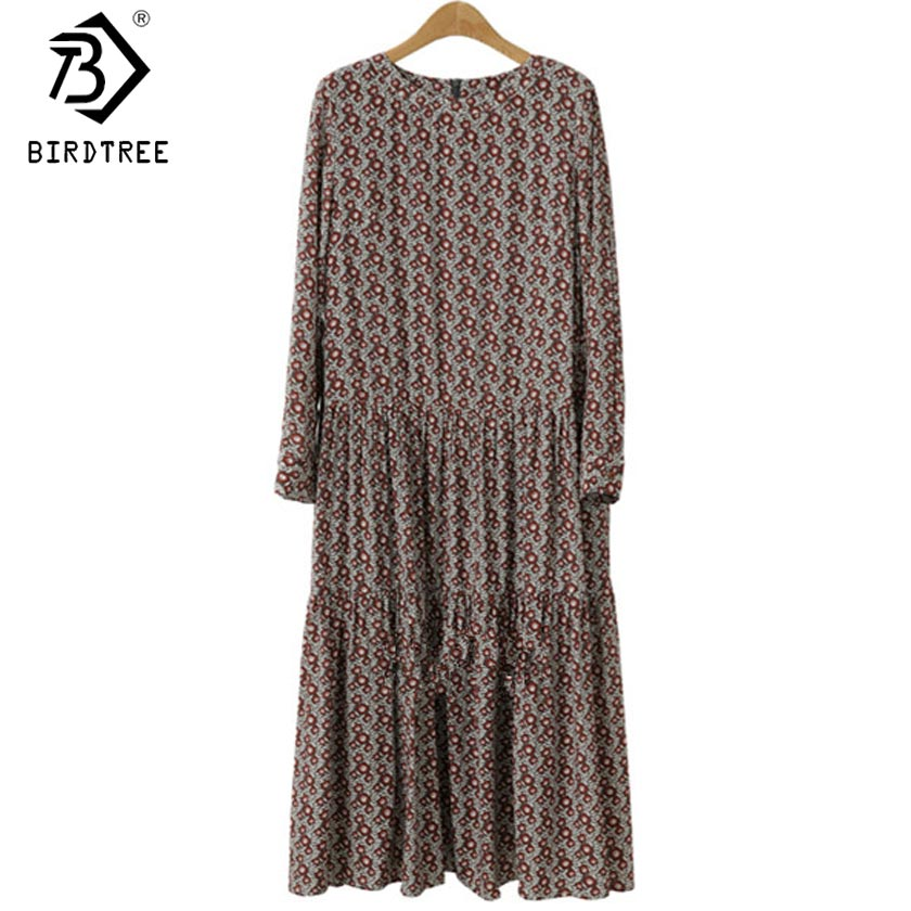 Plus Size 4XL O-Neck Women Print Flowers Shirt Dress Fall Fashion Vintage Long Sleeves Good Quality Female Dress D7N705A