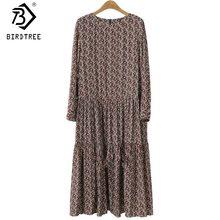 Plus Size 4XL O Neck Women Print Flowers Shirt Dress Fall Fashion Vintage Long Sleeves Good Quality Female Dress D7N705A