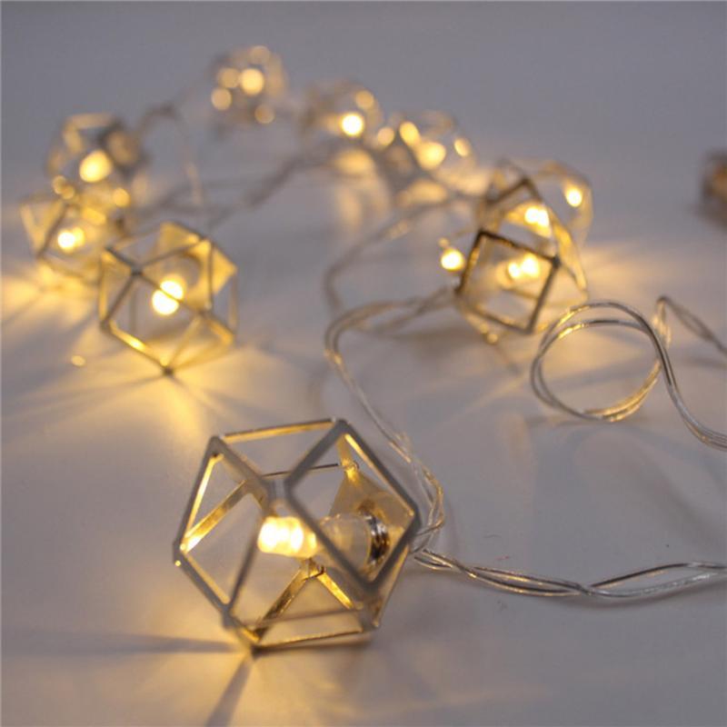 LED Christmas Decoration Lights Polygonal Shape String Light Children Bedroom Night Light With Battery Box Warm White