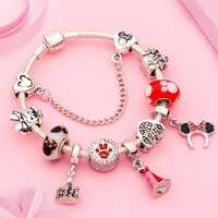 Bonito vestido de princesa esmaltado rojo pulsera de Minnie Silver Castle Bead Bracelet Diy Murano Crystal Charm Bracelet Pulseras para niña