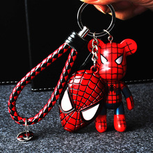 Cartoon Spider-Man violence Bear Key chain Captain America Superman Keychains Men And Women Car Bags Pendant Gift keyring