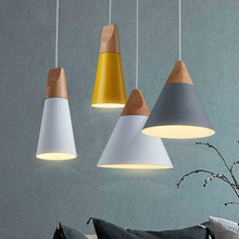 Creative wood pendant lamp modern suspension lights bar dining room lamps art deco luminaire