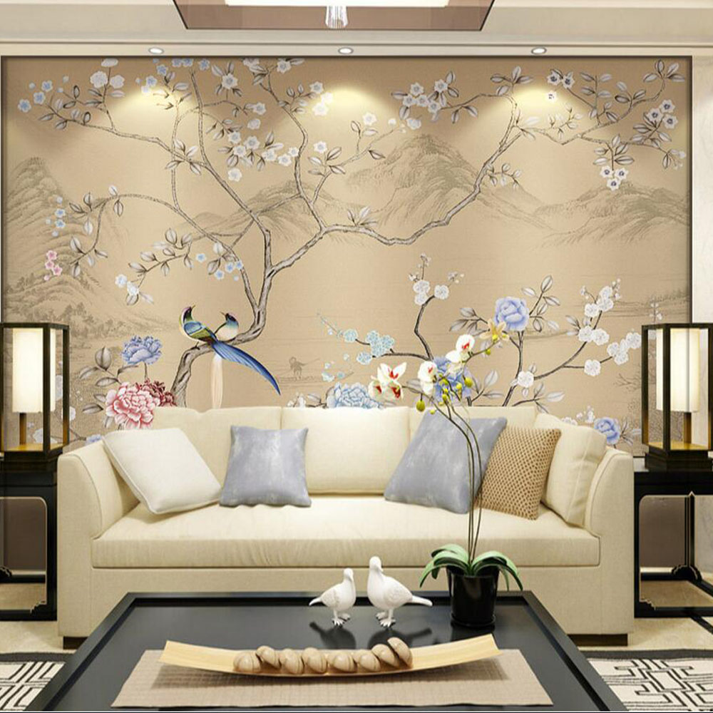 3d flower birds wallpaper wall mural bedroom wall decor for Papel decorativo pared