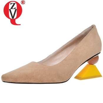 ZVQ women new style high heels shoes ladies pointed toe kid suede leather upper spring new style fashion pumps shoes woman 2019