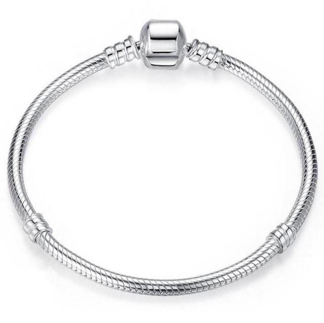 Authenetic 925 Sterling Silver Pandora Bracelet Snake Chain Lobster Clasp Basic Bangle Fit Women Bead