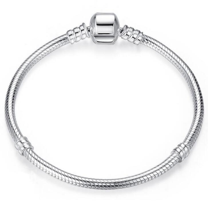 Authenetic 925 Sterling Silver Pandora Bracelet Snake Chain Lobster Clasp Basic Bracelet Bangle Fit Women Bead Charm Jewelry