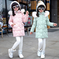 Girls Warm winter down Girl long section fur collar Down Jacket Children New Fashionable Duck Down jackets Kids Down & Parkas