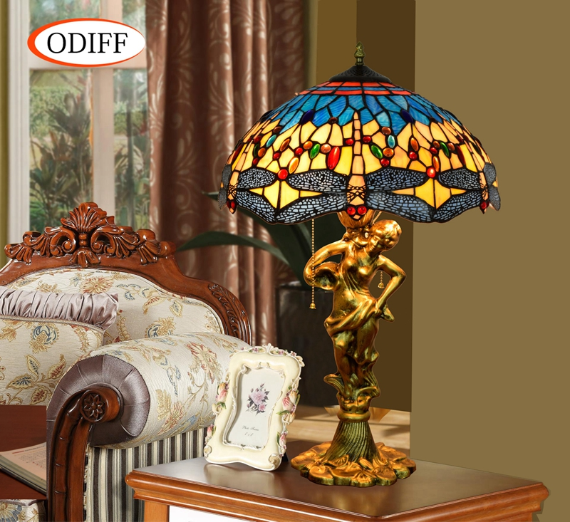 ODIFF European luxury creative garden Stained glass living room Blue Dragonfly Table Lam ...