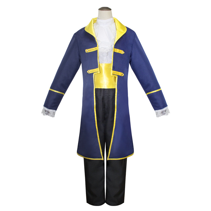 Men Cartoon Beauty and the Beast  Prince Adam Cosplay Costume Male Halloween Stage Performance Party Jacket Costume Outfit