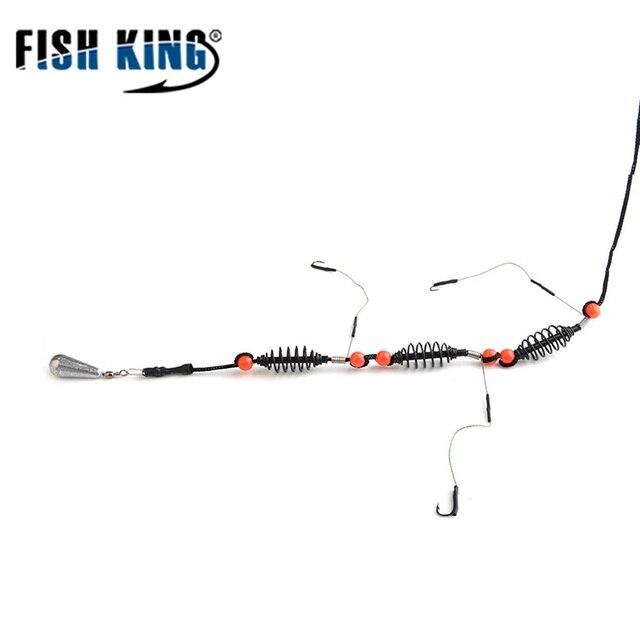 דגי מלך 1 PC דיג פיתוי מלאכותי פיתיון כלוב מזין קרפיון דיג עם משקולת עופרת מסתובב עם קו ווים עבור קרס דיג