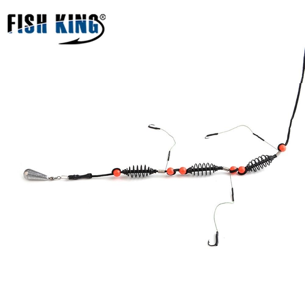 Рыбы король 1 шт. рыбалка искусственная приманка клетка кормушка карп рыбалка с Распределительная Платина поворотный с леской Крючки для ры...