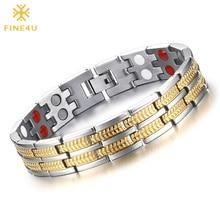 Bracelet Jewelry Bangles Magnetic 316l-Stainless-Steel FINE4U H-Power Men's Charm