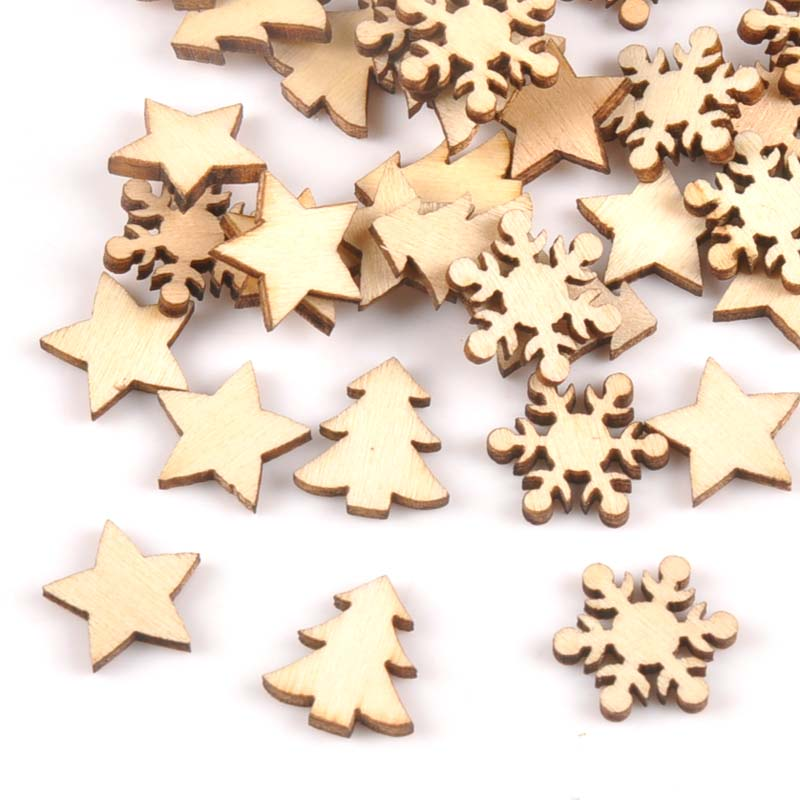 100pcs Stars Snowflakes And Pine Trees Pattern Wooden Scrapbooking For Wood Decoration For Home Decoration M1879