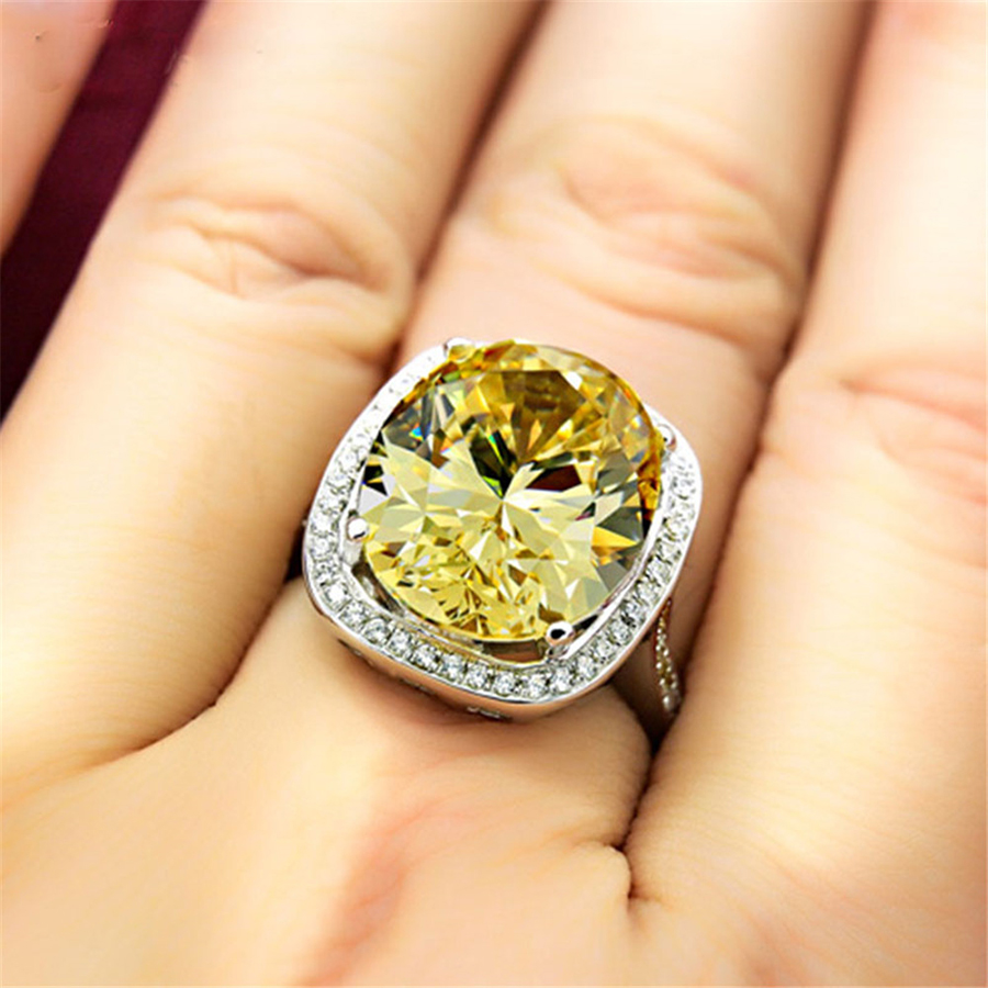 MALANDA Brand Fashion Big Yellow Crystal from Swarovski Cubic Zircon Silver Luxury Rings For Women Wedding Party Rings Jewelry