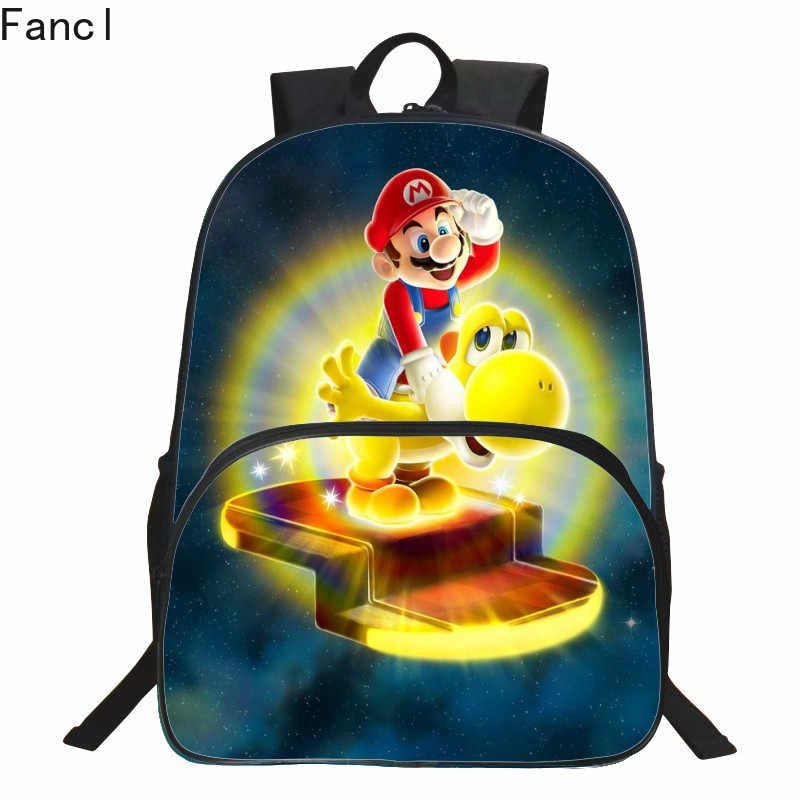 New Style Hot Oxford 16 Inches Printing Super Mario Kids School Bags for Teenager Backpack Cartoon Bookbag Children Schoolbag 19