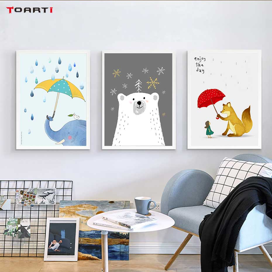 Image 3 - Cartoon Animals With Umbrella Prints Posters Elephant Canvas Painting On The Wall Enjoy The Day Life Quotes Kids Bedroom Decor-in Painting & Calligraphy from Home & Garden
