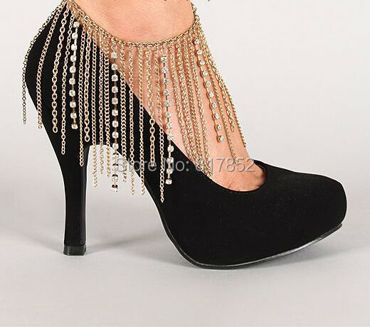FREE SHIPPING New Style L60 Women Fashion Gold Chains Ankle Chains Gold Rhinestone Chains Anklets Jewelry