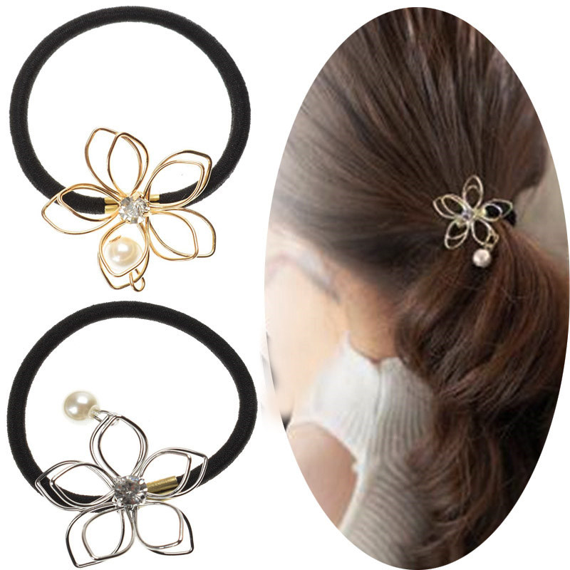 Solid Color Bowknot Pearl Women Hair Claw Metal Bun Maker Ponytail Holder