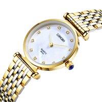 Fashion Watch Women 25mm Dial Luxury Brand LONGBO Gold Stainless Steel Bracelet Waterproof Quartz Wrist Watch