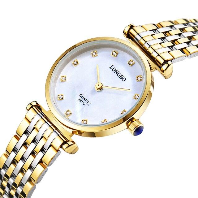 736db19b45f Assistir Mulheres moda 25mm Dial Marca de Luxo LONGBO Ouro Pulseira de Aço  Inoxidável Quartzo Relógio