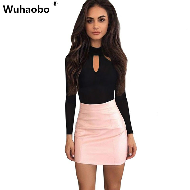 Wuhaobo Bodysuit Women Body Suits for Women Sexy Romper Black Mock Neck Long Sleeve Hollow Out Back Bodysuit 2017 Autumn