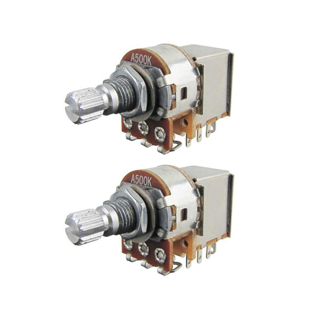 2pcs electric guitar bass switch control push pull pot potentiometer 250k 500k long split shaft [ 1000 x 1000 Pixel ]