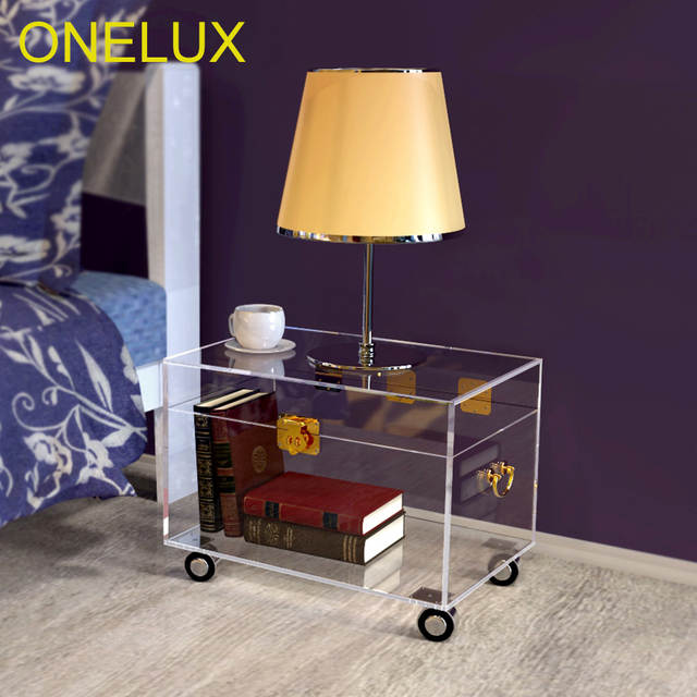 Us 4720 Onelux Clear Acrylic Storage Chest Lucite Trunk Coffee Table On Wheels In Coffee Tables From Furniture On Aliexpress