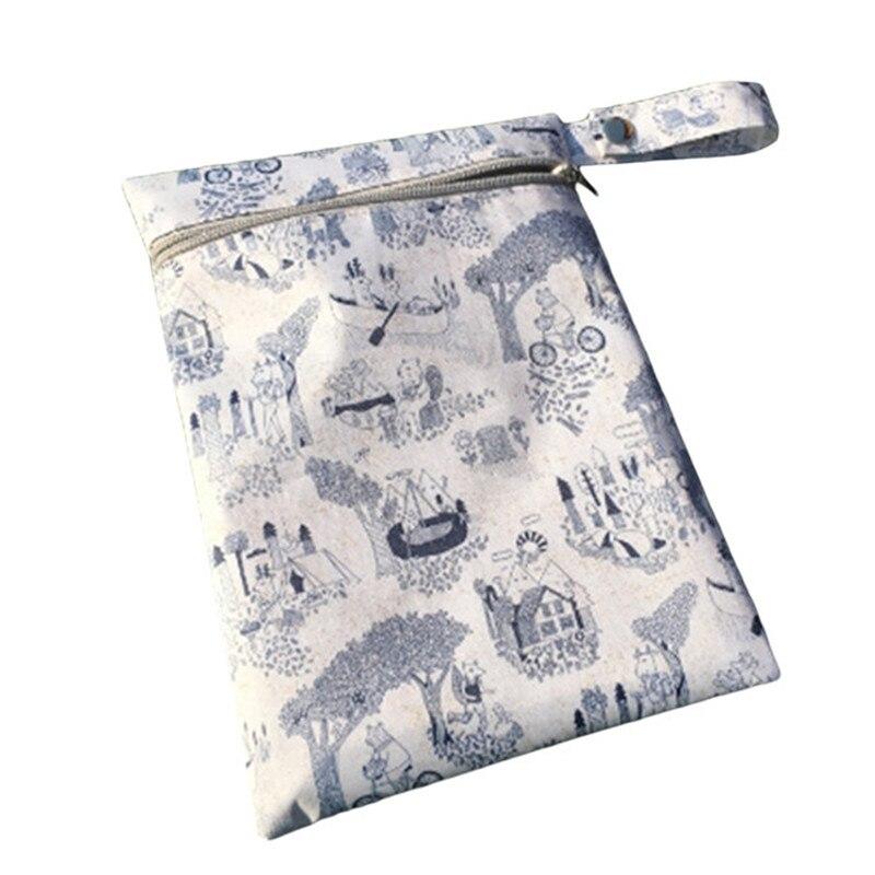 1 Stück Neugeborenen Baby Windel Lagerung Taschen Wiederverwendbare Gedruckt Design Baby Tuch Windel Nass Taschen Wasserdichte Tuch Windel Lagerung Beutel