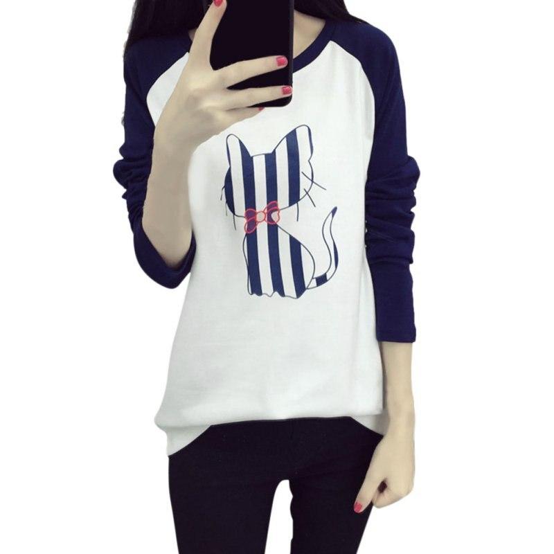 0366af516fc9 Смешанный Цвет корейский Для женщин с рисунком кота футболки свободные  Футболки женские футболки