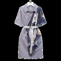 L 4XL Big Size Women Shirt Dress Summer 2019 Fashion Funny Print Patchwork Short Sleeve Loose Casual Elegant Dresses with Belt
