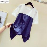 Fashion Summer T shirt Women New Korean Style Irregular Hem Wrinkle Stitching Short sleeved Tee Loose Casual Shirts Ladies T