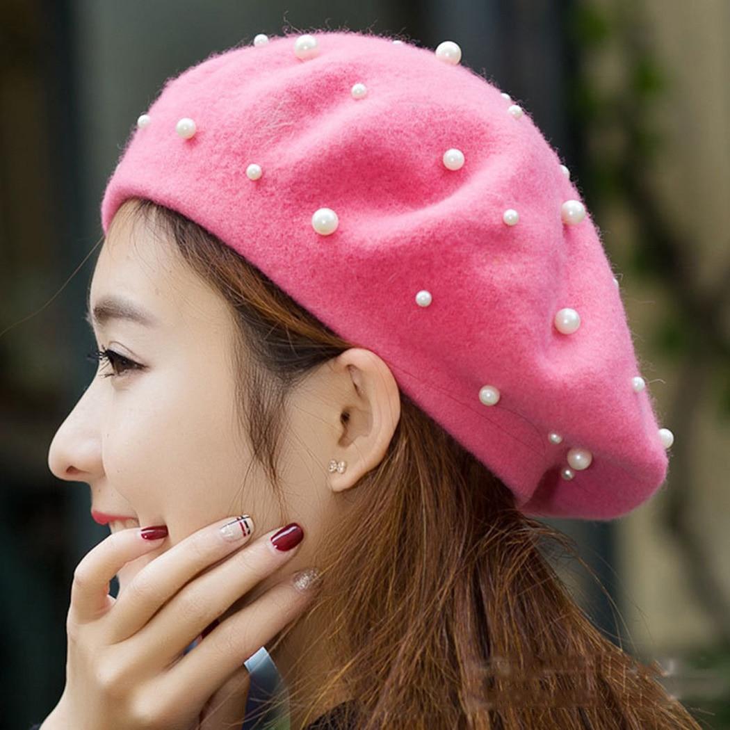 3b54de1bb Hot Sale] 2019 Vintage Wool Pearl Beret Cap Women French Hat ...